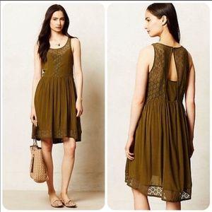 Anthropologie Lilka Matepe Dress Olive Green Lace